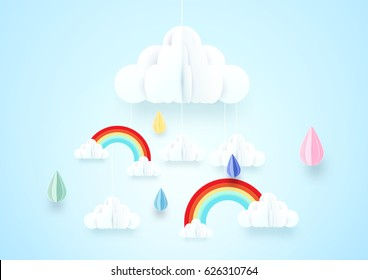 Paper art concept. Rainy and cloud with rainbow on soft blue background