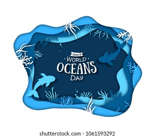 Paper art concept of World Oceans Day. The celebration dedicated to help protect, and conserve world oceans, water, ecosystem. Blue 3d origami craft paper of sea waves, fish and plants