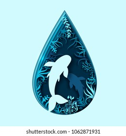 Paper art concept of World Oceans Day. Celebration dedicated to help protect, conserve world oceans. Blue 3d origami craft paper of water drop, fish, plants. Creative marine summer poster, sea life