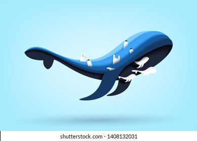 Paper art of conservation and sustainable environment and ecology concept.Blue whale family and ocean with waste and garbage of plastic product on the sea.Vector illustration.