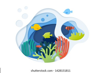 Paper art coral reefs background. Paper cut underwater background with coral reefs, color fishes, seaweed, bubbles and waves.  Ocean wildlife. Vector illustration