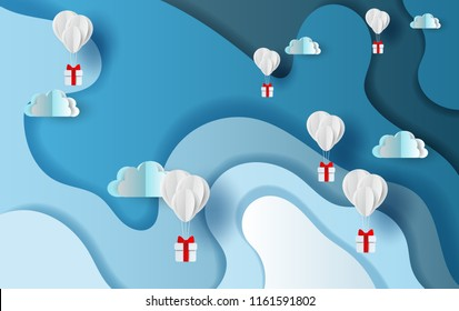 Paper art and craft of balloons gift on Abstract Curve shape blue sky background,shadow,vector.illustration