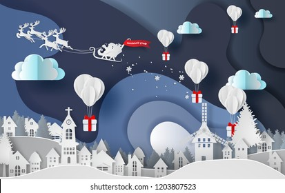 Paper art and craft of balloons gift on Abstract Curve shape blue sky background,city town of landscape winter season,Snow season in the city.vector.illustration