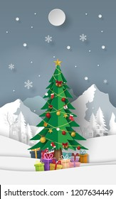 Paper art, Craft style of Christmas tree with gifts at snow mountain, Merry Christmas and Happy New Year