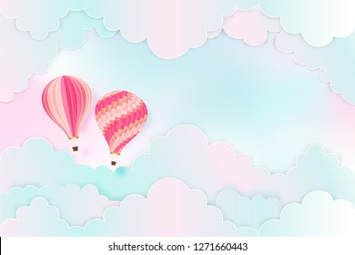Paper art and craft style of Hot air balloons on the pastel sky background as trip and traveling concept. vector illustration