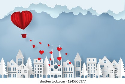 Paper art, Craft style of Red heart balloon flying to the sky over the village, Love and Happy Valentine's Day