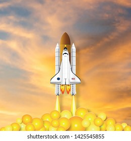 Paper art and craft style of Rocket launch on the orange sky as innovation, technology and business Startup project concept. flat design vector illustration.