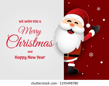 Paper art, Craft style of Santa Claus with words in copy space, Merry Christmas and Happy New Year