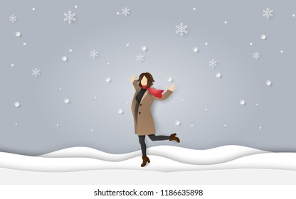 Paper art and craft style of winter season, A happy woman wearing clothes and scarf standing on snow floor with snowing, welcome winter season