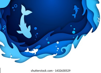 Paper art craft of underwater seascape: undersea world and ocean wildlife: reef, water waves and fishes. Blue origami of cut out layers cardboard with texture. Marine life concept
