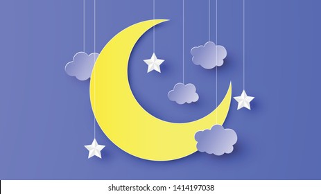 Paper art of crescent moon decorated with star and cloud hanging down from the night sky. paper cut and craft style. vector, illustration.