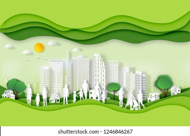 Paper art , cut and craft style of green eco urban city with people and nature cityscape background as Ecology design and environment conservation creative idea concept. Vector illustration.
