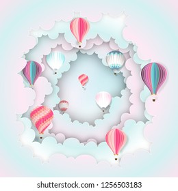 Paper art , cut and craft style of Hot air balloons on the pastel sky background as technology , business and transportation concept. vector illustration.