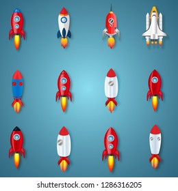 Paper art , cut and craft style of Rockets Collection on blue background as business , transportation and technology concept. vector illustration.