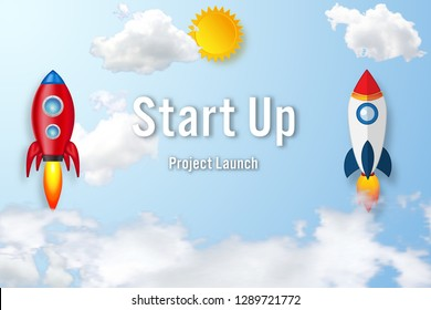 Paper art , cut and craft style of Rockets launch on the clouds and blue sky as business Startup project , transportation and technology concept. flat design vector illustration.