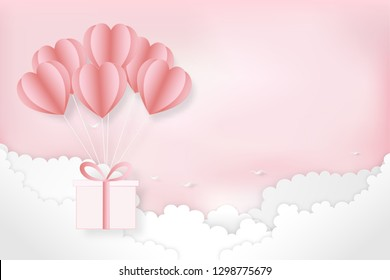 Paper art , cut and craft style of elements in shape and heart flying on pink background as Love, Happy Mother's, Valentine's Day, birthday greeting card design. vector illustration.