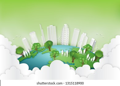 Paper art , cut and craft style of green eco urban city with people and nature cityscape background on the earth as Ecology and environment conservation creative idea concept. Vector illustration.