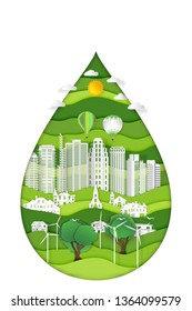 Paper art , cut and craft style of green eco urban city with nature cityscape background as Ecology design and environment conservation creative idea concept. Vector illustration.