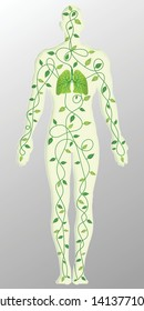 Paper art , cut and craft style of green eco leaf tree with lungs cycle in the human body as Ecology, fresh air, Life and environment conservation creative idea concept. Vector illustration.