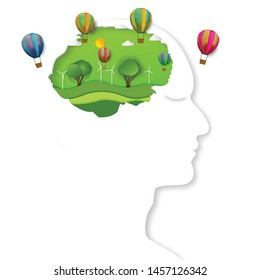 Paper art , cut and craft style of green environment with hot air balloon and nature in the human brain background as Ecology design and environment creative idea concept. Vector illustration.