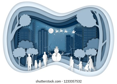 Paper art and cut digital Carving layer design of Santa Claus on Sleigh and Reindeers in the snow winter and merry christmas background as craft style and x'mas day concept. vector illustration.
