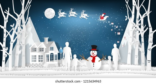 Paper art, cut and digital craft style of anta Claus on Sleigh and Reindeer with family party in the merry christmas night as holiday and x'mas day concept. vector illustration.