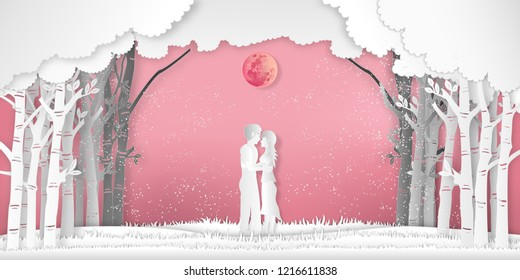 Paper art , cut and digital craft style of the Lover with heart hot air balloons in winter season and snow on pink full moon background as Love , wedding and valentines concept. vector illustration