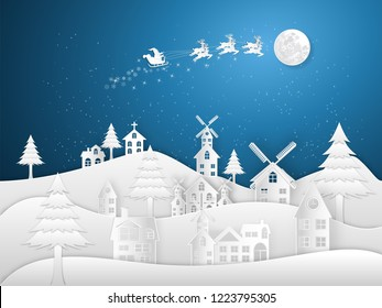 Paper art , cut and digital craft style of Santa Claus on Sleigh and Reindeers in the snow village in the winter background as holiday and x'mas day concept. vector illustration.