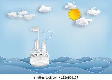 Paper art , cut and digital craft style of the lover in the boat on sea and sunny in the morning as romantic , married and honeymoon concept. vector illustration