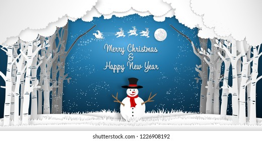 Paper art, cut and digital craft style of Santa Claus on Sleigh, Reindeer and snowman in winter season with trees , forest and snow as Merry Christmas and Happy New Year concept. vector illustration
