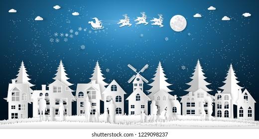 Paper art , cut and digital craft style of Santa Claus on Sleigh and Reindeer , People come out to celebrate merry christmas in the winter background as holiday and x'mas concept. vector illustration.