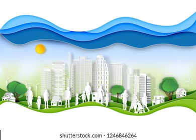 Paper art , cut digital craft style of green cityscape with peoples exercise and relax in the morning on summer, fresh air in park or outdoor as nature, healthy concept. vector illustration
