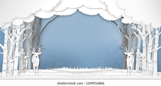 Paper art , cut and digital craft style of Deers in forest in the winter season with trees and snow  as holiday and happy new year concept. vector illustration
