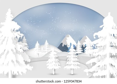 Paper art , cut and digital craft style of Snow , winter season and christmas tree as merry christmas and happy new year concept. Vector illustration.