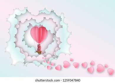 Paper art , cut and digital craft style of Lover in the hot air heart balloon on pink pastel clouds layer background as love ,  wedding and happy valentine's day concept. vector illustration.