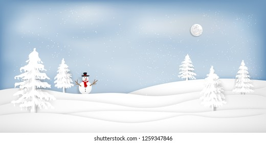 Paper art , cut and digital craft style of Snow and winter season with snowman and christmas tree as merry christmas and happy new year concept. Vector illustration.
