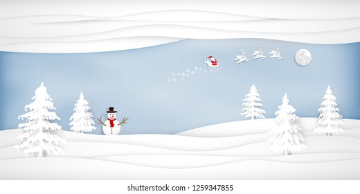 Paper art, cut and digital craft style of Santa Claus on Sleigh and Reindeer with snowman in the merry christmas night and  happy new year 2019 as holiday and x'mas day concept. vector illustration.