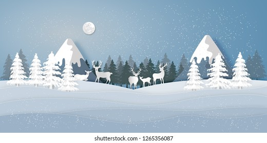 Paper art , cut and digital craft style of Deers in the pine forest in the winter season with trees and snow  as merry christmas and happy new year concept. vector illustration