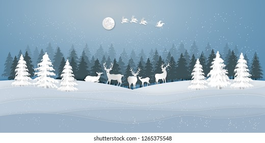 Paper art , cut and digital craft style of Santa Claus on Sleigh and Reindeer with deers in the merry christmas night and  happy new year as holiday and x'mas day concept. vector illustration.