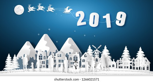 Paper art, cut and digital craft style of anta Claus on Sleigh and Reindeer with Children party and enjoy in the merry christmas night as x'mas and happy new year concept. vector illustration.