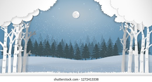 Paper art , cut and digital craft style of the pine forest in the winter season with trees and snow  as Nature and Happy New Year concept. vector illustration.