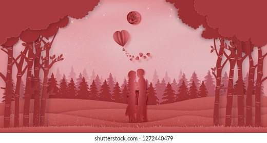 Paper art , cut and digital craft style of the Lover with heart hot air balloons in winter season and snow on pink nature background as love and valentine 's day concept. vector illustration
