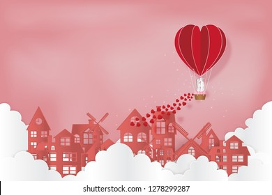 Paper art , cut and digital craft style of the lover in hot air heart balloon on pink sky and sunny as love, happy valentine's day and wedding concept. vector illustration.