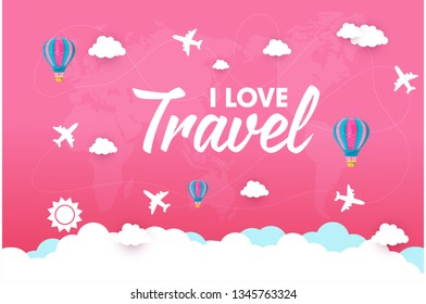 Paper art , cut and digital craft style of Airplane aerial view on pastel clouds and sky holographic background as transportation, trave and journey concept. vector illustration
