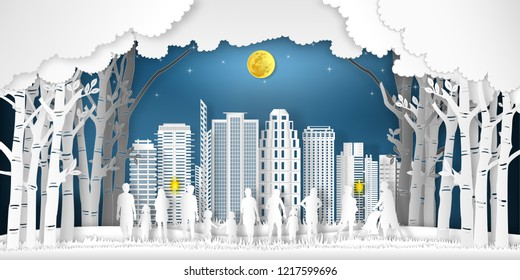 Paper art and cut of landscape of peoples exercise and relax in the night city, fresh air in the park as nature, healthy, craft style concept. vector illustration.