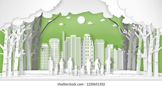 Paper art and cut of landscape of peoples exercise and relax in the morning city on summer, fresh air in the green park as nature, healthy and craft style concept. vector illustration