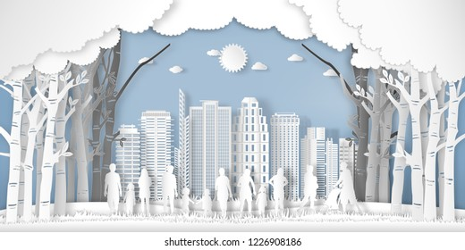 Paper art and cut of landscape of peoples exercise and relax in the morning city on summer, fresh air in the park as nature, healthy and craft style concept. vector illustration