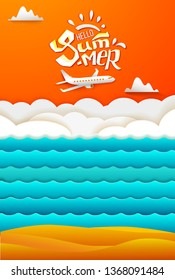 Paper art cut out orange sky background with clouds, sea waves, sand beach and airplane. Summer hand lettering. Vector illustration for hot web or print banner. Aircraft fly in the sky.
