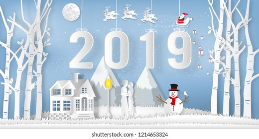 Paper art and cut of Santa Claus on Sleigh, Reindeer ,  snowman and Lover in the winter season with forest and snow on the blue sky as Happy New Year 2019 and digital craft style concept. vector ill