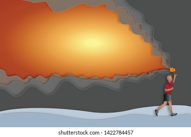 Paper art and cut style of the athlete with a flaming torch as exercise, mission complete and business concept. vector illustration.